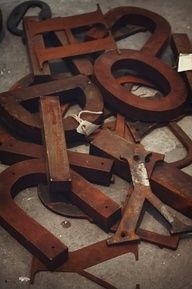 rusty industrial letters #metalletters #vintageiron Available at MIX Furniture in Loa Angeles MIXfurniture.com