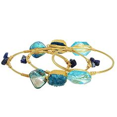 Gold Tone Wire Wrapped Bracelet Featuring Three Bangles with Blue and Teal Natural Stone and Accents J and D Jewelry and More http://www.amazon.com/dp/B00TQ5S4M6/ref=cm_sw_r_pi_dp_fFTMvb1JCNF0X OR www.JandDJewelryandMore.com