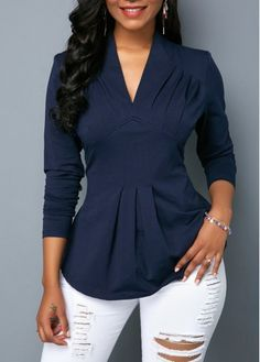 VNeck Long Sleeve Navy Blue Blouse | modlily.com - USD $24.1