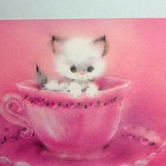 #B559- Vintage Xmas Greeting Note Card Adorable White Cat In Pink Tea Cup | eBay