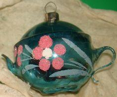 antique christmas ornaments | VINTAGE BLOWN GLASS CHRISTMAS TEA POT ORNAMENT