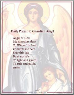 Daily Prayer to Guardian Angel - Prayers - Catholic Online Prayer Verses, Bible Prayers, Faith Prayer, Prayer Book, God Prayer, Prayer Quotes, Catholic Prayers Daily, Rosary Prayer, Rosary Catholic