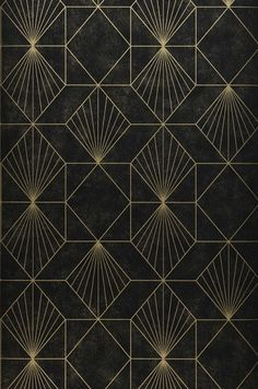 Maurus (Gold, Black, Gold) | Geometrical wallpaper | Wallpaper patterns | Wallpaper from the 70s