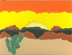 Desert Landscape with torn construction paper.