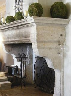Fabulous antique stone fireplace carved