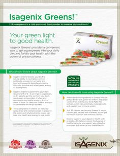 Not getting your daily intact of greens? Isagenix has the solution for you.  If you like what you see, Pin it and contact me at isajessica5@gmail.com