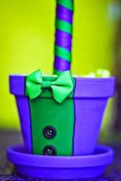 Joker-inspired topiary vase from a Joker Inspired Mad Love Birthday Party via Kara's Party Ideas | KarasPartyIdeas.com - The Place for All Things Party! (54)