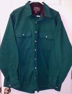 National Outfitters Men's Green Button up Collared THICK Cotton Shirt LS XXL 2XL #NationalOutfitters #Shirt
