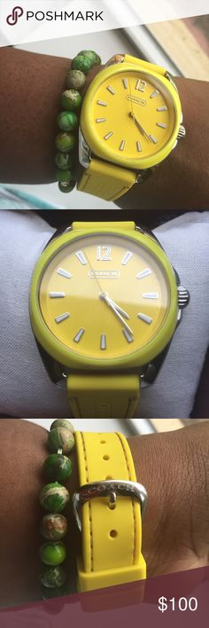 🎉🎉Host Pick 🎉🎉Coach Watch Yellow Coach watch. Round polished stainless steel. 38mm without crown. 47mm case length with lugs. It has a pin buckle which is 7.5 in length. Yellow silicone strap. Comes with box, booklet, and pillow. I have the tag as well but it's not attached. 100% Authentic Coach Accessories Watches