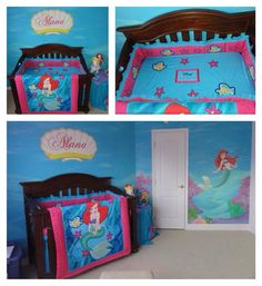 Mermaid Nursery Bedding for Girls | Here's how it looked as a nursery. My mom made the crib bedding and my ...