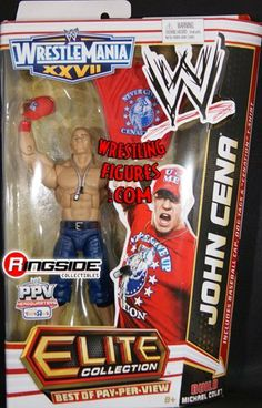 JOHN CENA (RED) BEST OF PAY PER VIEW ELITE EXCLUSIVE WWE Wrestling Action Figure by WRESTLING. $39.99. John Cena - Best of Pay Per View (WrestleMania 27) Elite Exclusive WWE Toy Wrestling Action Figure by Mattel! Includes removable red shirt, dog tags and hat! Includes Michael Cole arms!