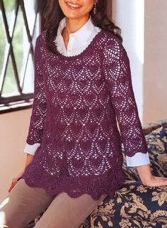 Crochet Sweater: Crochet Tunic Pattern - Sophisticated - Diagrams to download at site