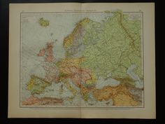 EUROPE antique map of Europe  large beautiful by VintageOldMaps