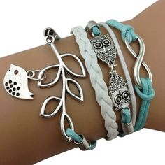 Light Blue Owl and Birdie Arm Party Bracelet