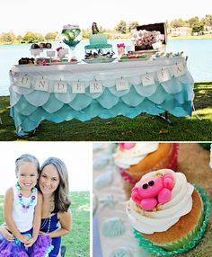ombre mermaid birthday party: @Jess Pearl Pearl Pearl Pearl Liu Fielder I saw this thought it was cute and then saw you pinning stuff for lily! LOVE the table cloth!!!