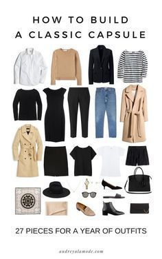 how-to-build-a-capsule-wardrobe-audrey-a-la-mode.jpg hair casual How To Build A Classic Capsule Capsule Outfits, Fashion Capsule, Mode Outfits, Easy Outfits, Packing Outfits, Fall Fashion Staples, Europe Travel Outfits, Preppy Fall Outfits, Mix Match Outfits
