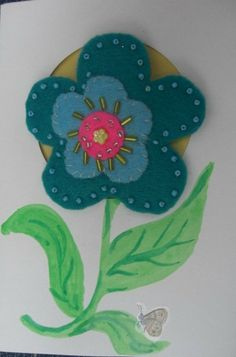 Brooch Gift Card, A Blank Card with a Blue Felt Brooch Attached.A Card and a Gift in One Place.  $5.57