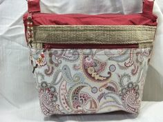Cross body VI handbag in pale blue, grey and cranberry Paisley, Scotch guarded for stain protection, adjustable strap, many pockets by ChickadeeHillDesigns on Etsy