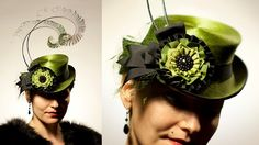 YvetteEnVert    An 'Yvette' mini top hat made with incredibly rare antique melousine fur felt in luminous avocado green. Trimmed with extra long hand-curled black peacock sword feathers, a black and green ribbon cockade, vintage silk veiling, and an antique black jet button.