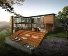 Outdoor sun terraces. Residential Project in Mill Valley, CA by Schappacher White