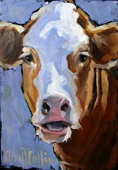 """Pete"" - oil painting by Amy P. Collins #cows #field #painting #nature #outdoors #animals #family"