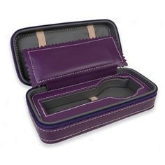 Personalized Portable Watch Case for 1 Watch - Purple with Grey Inner