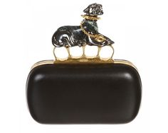 Alexander McQueen Black Leather Panther Knuckle Clutch