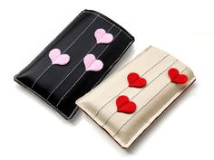Synthetic Leather iPhone / iPod touch case - Red Hearts / Pink Hearts. $12.50, via Etsy.