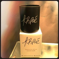 Kardashian Khaos Khloe Candle Calling all Kardashian loversKhloe's very own Japanese Plum scented candleCollectiable item straight from the LasVegas store.Only burned once. 5.6 oz candle. Kardashian Kollection Other