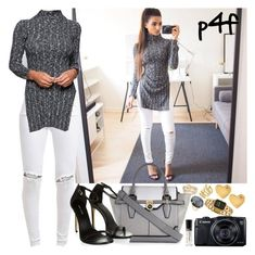 """""""Passion 4Fashion: Grey & Black Fashion"""" by shygurl1 ❤ liked on Polyvore featuring River Island, FiveUnits, Canon, Sydney Evan, Vince Camuto, Ippolita and Chanel"""
