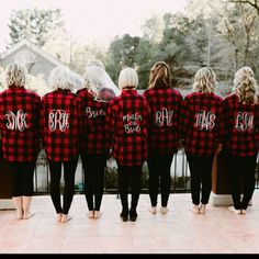 Here comes the Bride.... But first, the girls need to get ready for the big day! Made with mens flannel shirts for that perfect oversized fit, with buttons all the way down so no messing up the hair! Not getting married? No problem, these comfy shirts arent just for brides. They have quickly become everyones favorite weekend shirt! ( ( ( BUY MORE SAVE MORE: SPEND $50 or more, use coupon code SAVE10 to save 10% off your entire order! ) ) ) ** WHEN ORDERING PLEASE INCLUDE: - font style (for…