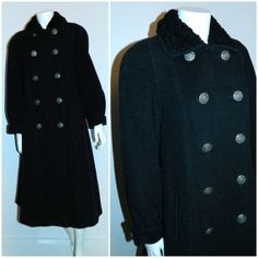 vintage 1980s charcoal coat NINA RICCI cashmere by retrotrend, $289.00