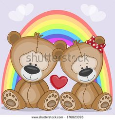 Valentine card with Lovers Bears - stock vector