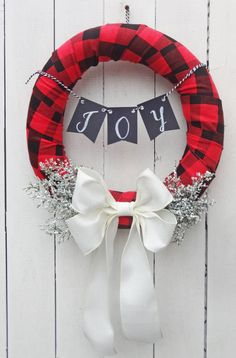 Rustic Christmas wreath, flannel xmas, natural Christmas wreath, Christmas wreath, rustic Christmas decor, natural winter door decor, plaid
