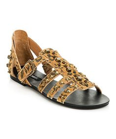 Look what I found on #zulily! Brown Leopard Studded Suede Meredith Sandal #zulilyfinds