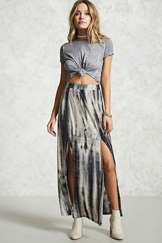 A stretch knit maxi skirt featuring a tie-dye wash, an elasticized waist, and a front M-slit. Tie Dye Skirt, Dress Skirt, Slit Skirt, Womens Maxi Skirts, Batik Dress, How To Make Clothes, Night Outfits, Cute Casual Outfits, Urban Fashion