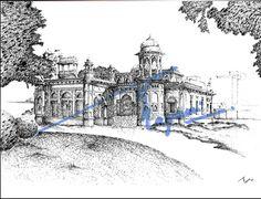 Hindu Gymkhana, Karachi.  Pen and ink sketch on pastel sheet, drawn with a 0.1mm rapido.  By: Zehra Naqavi (Architect/artist)  Year: 1996