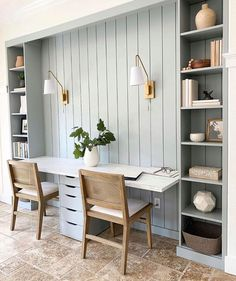 """decorist on Instagram: """"The perfect #WFH spot with dualing desk space and plenty of storage 💙 Tap #linkinbio to let us help you design your space // Design by…"""" Gray Home Offices, Home Office Space, Home Office Design, Home Office Decor, House Design, Home Decor, Desk Space, Kids Office, Interior Office"""