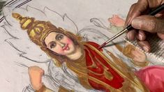 How to paint the body of goddess and jewelry - by Artist S.Murugakani Tanjore Painting, Sketches, Artist, Youtube, Paintings, Jewelry, Board, Drawings, Jewlery