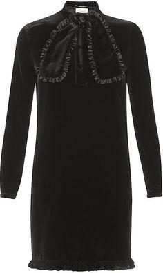 SAINT LAURENT Ruffled Tie Velvet Dress - Lyst