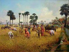 คลังรูป ภ.ภาพวาด: วิถีชีวิตชาวบ้าน Indian Art Paintings, Nature Paintings, Landscape Paintings, Watercolor Art Landscape, Watercolor Paintings, Agriculture Pictures, Village Scene Drawing, Thai Art, Pictures To Draw