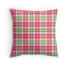 """PLAID-422"" Throw Pillows by IMPACTEES   Redbubble"