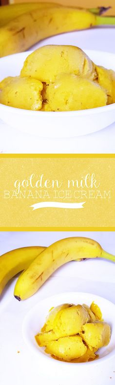 Golden Milk Banana Ice Cream: Combine all of the healthy benefits of golden milk with sweet, delicious bananas and mango in this fruity frozen treat!