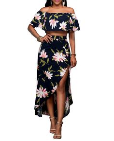 Women's Sexy Maxi Cocktail Bodycon Dresses Ruffle Plain Off Shoulder Floral Print S-3XL >>> Special  product just for you. See it now! : Women clothing