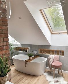 50 Attic Bathrooms to Inspire Your Next Renovation,attic bathroom plumbing,attic bathroom sloped ceiling,attic bathroom cost,attic shower ideas Bathroom Under Stairs, Bathroom Cost, Loft Bathroom, Bathroom Plumbing, Upstairs Bathrooms, Bathroom Interior, Attic Shower, Best Bathroom Designs, Rustic Home Design