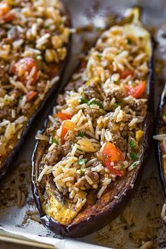 Stuffed Eggplant with Garlic Tahini Sauce The Cozy Apron is part of Eggplant recipes - This savory stuffed eggplant with middle eastern spices and a garlic tahini sauce is a delicious and beautiful meal, one full of textures and healthy ingredients Vegetable Dishes, Vegetable Recipes, Beef Recipes, Vegan Recipes, Cooking Recipes, Egg Plant Recipes Healthy, Food Recipes Snacks, Fast Recipes, Thai Recipes