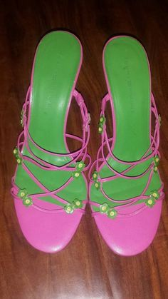 af453ca4df4 Tommy Hilfiger Pink Green Leather Strappy Flower Dressy Summer Heels 8.5 M   TommyHilfiger  Strappy