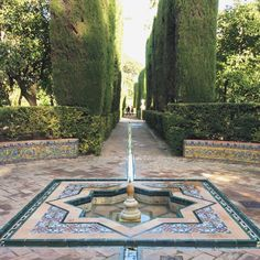 Gardens of the Real Alcazar, Seville in Spain