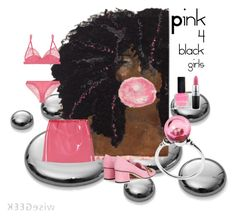 """Pink 4 black girls"" by quortshirts ❤ liked on Polyvore featuring Miu Miu, La Perla, Gucci, Trollbeads and MAC Cosmetics"