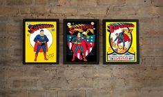 Superman 5 x  7 Framed Print Set Superman No 1 by FRAMEDVINTAGE